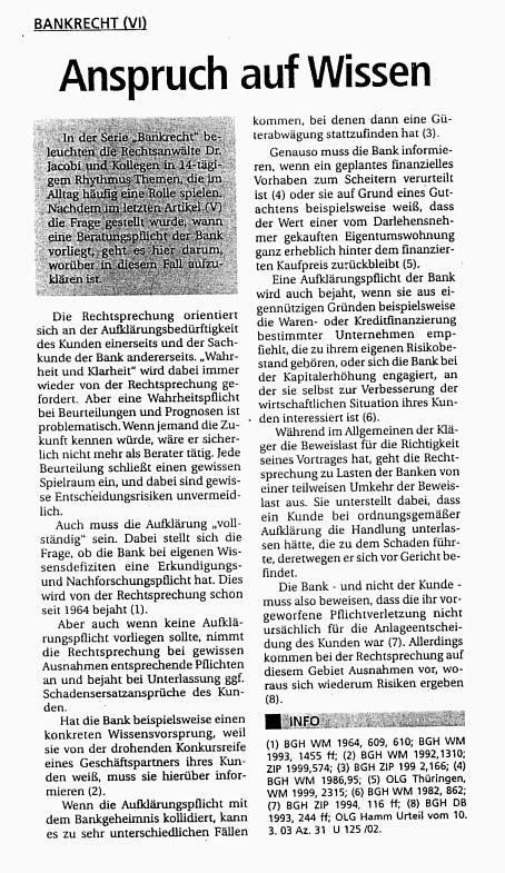 Fachartikel Bankrecht VI