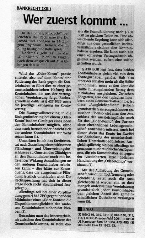 Fachartikel Bankrecht XIII