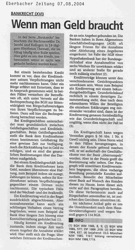 Fachartikel Bankrecht XVI
