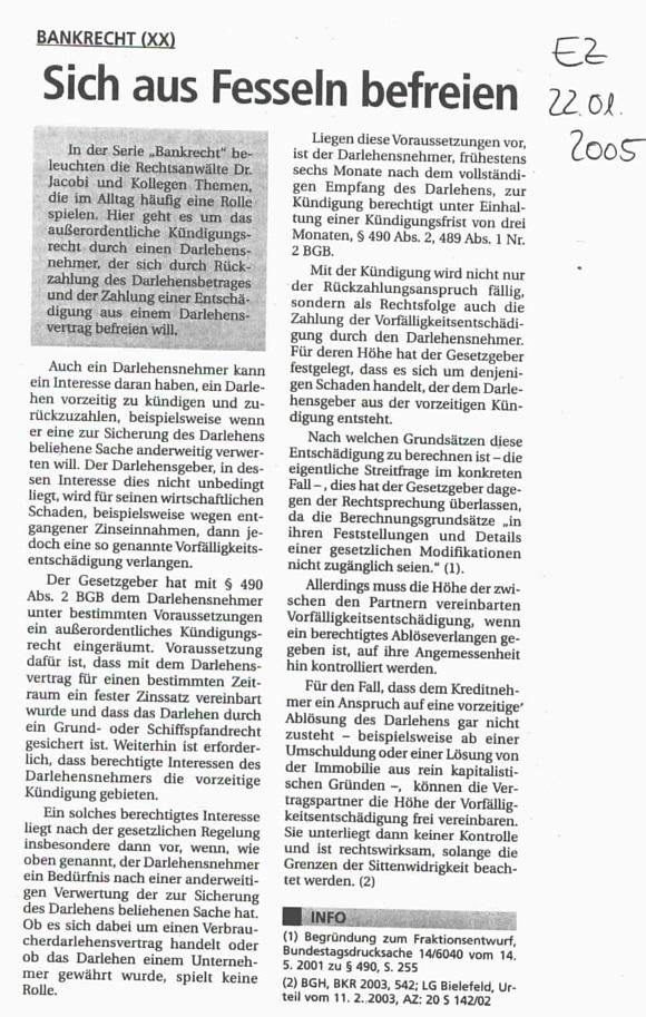 Fachartikel Bankrecht XX
