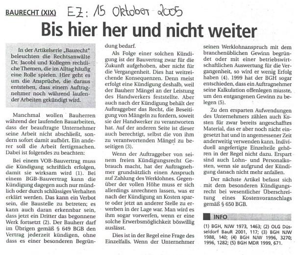 Fachartikel Baurecht XIX