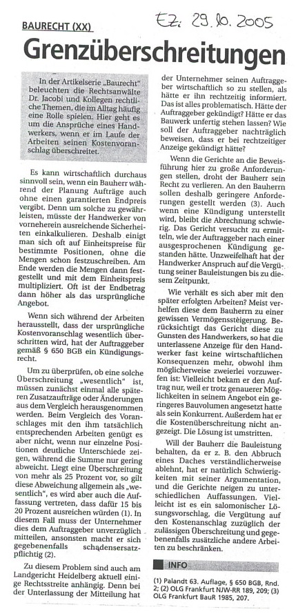 Fachartikel Baurecht XX